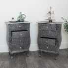 Pair of Silver Embossed Bedside Tables - Monique Range