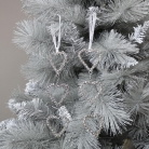 Pair of Silver Jewelled Heart Shaped Tree Ornaments