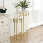 Pair of Tall Gold Glass Topped Side Tables