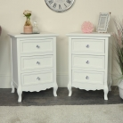 Pair of White 3 Drawer Bedside Tables - Victoria Range