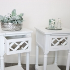 Pair of White Mirrored 1 Drawer Bedsides