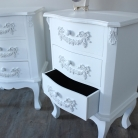 Pays Blanc Range - Furniture Bundle, Pair of Antique White 3 Drawer Bedside Table