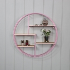 Pink & Gold Wire Metal Circular Wall Shelf