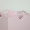 Pink Heart Detail Wooden Waste Paper Bin