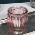 Pink Ribbed Glass Tealight Candle Holder