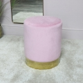 Pink Velvet Stool with Gold Base