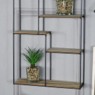 Rectangle Black Metal and Wood Shelving Unit