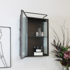Reeded Glass Metal Wall Cabinet