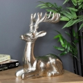 Resting Silver Reindeer Ornament