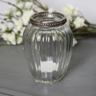 Ribbed Glass Candle Holder