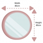 Round Black Wall Mirror 80cm x 80cm