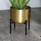 Round Gold Planter on Stand - Small