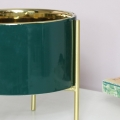 Round Green Planter on Stand