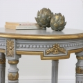 Round Grey & Gold Vintage Style Side Table