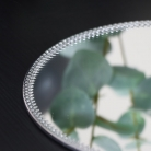 Round Mirrored Silver Display Plate Tray