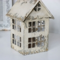 Rustic Cream Metal House Candle Lantern