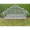 Rustic Grey Metal Garden Bench