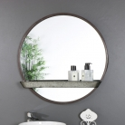 Rustic Industrial Round Mirror with Shelf 60cm x 60cm