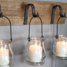 Rustic Wall Mounted Hook Tealight Holder