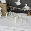 Rustic White Metal Winter Christmas Sleigh