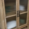 Rustic Wooden Reeded Glass Cabinet