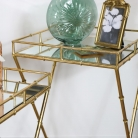 Set of 2 Gold Mirrored Bamboo Side Tables