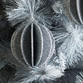 Set of 2 Round 3D Silver Glitter Baubles