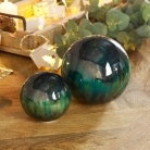 Set of 2 Teal Patterned Round Ornaments