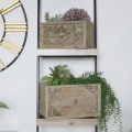 Set of 2 Wooden Drawer Planters