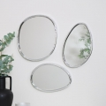 Set of 3 Abstract Silver Mirrors