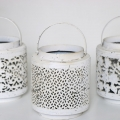 Set of 3 Antique White Candle Lanterns