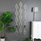 Set of 3 Decorative Silver Ripple Wall Mirrors 13.5cm x 146cm