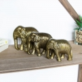 Set of 3 Family of Gold Indian Elephant Ornaments