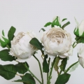 Set Of 3 Faux Pale Grey Peony Roses