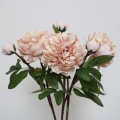 Set Of 3 Faux Peach Pink Peony Roses