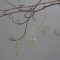 Set of 3 Gold Wire Diamond Christmas Baubles