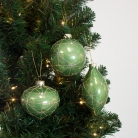 Set Of 3 Green & Gold Baubles