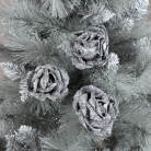 Set of 3 Grey Velvet Rose Tree Decorations
