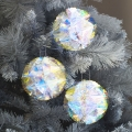 Set of 3 Iridescent Honeycomb Christmas Tree Baubles