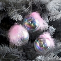Set of 3 Iridescent Pink Feather Christmas Baubles