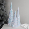 Set of 3 Iridescent Sequin Christmas Cones
