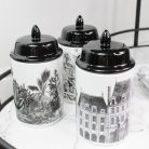 Set of 3 Monochrome Storage Jars