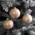 Set of 3 Pale Pink Pearl Glitter Baubles