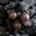 Set of 3 Pink Pearl Glitter Baubles