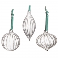 Set Of 3 Ribbed Glass Baubles