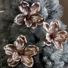 Set of 3 Rose Gold Pink Flower Christmas Decorations
