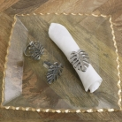 Set of 3 Silver Monstera Leaf Napkin Rings