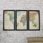 Set of 3 World Map Framed Prints