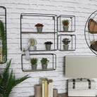Set of 4 Black Metal Shelves