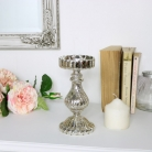 Silver Distressed Glass Candle Stick Holder